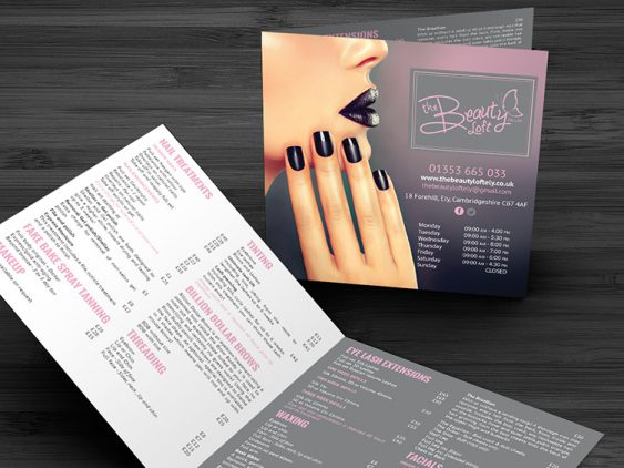 Beauty Loft Price List Design
