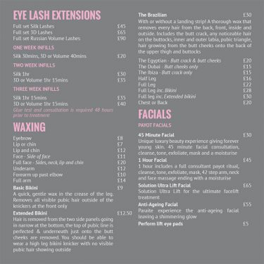 Beauty Loft Price List Design 03